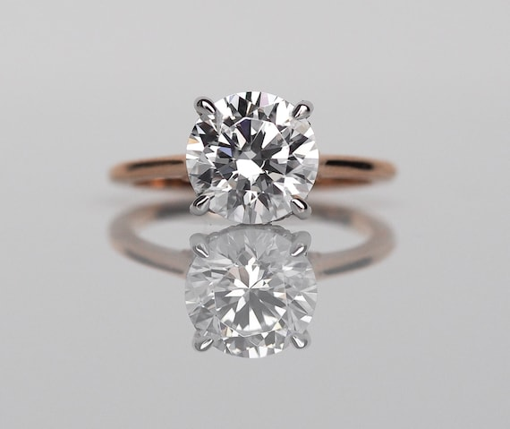 Dbk Classic Solitaire Setting Round Solitaire Engagement Ring Etsy
