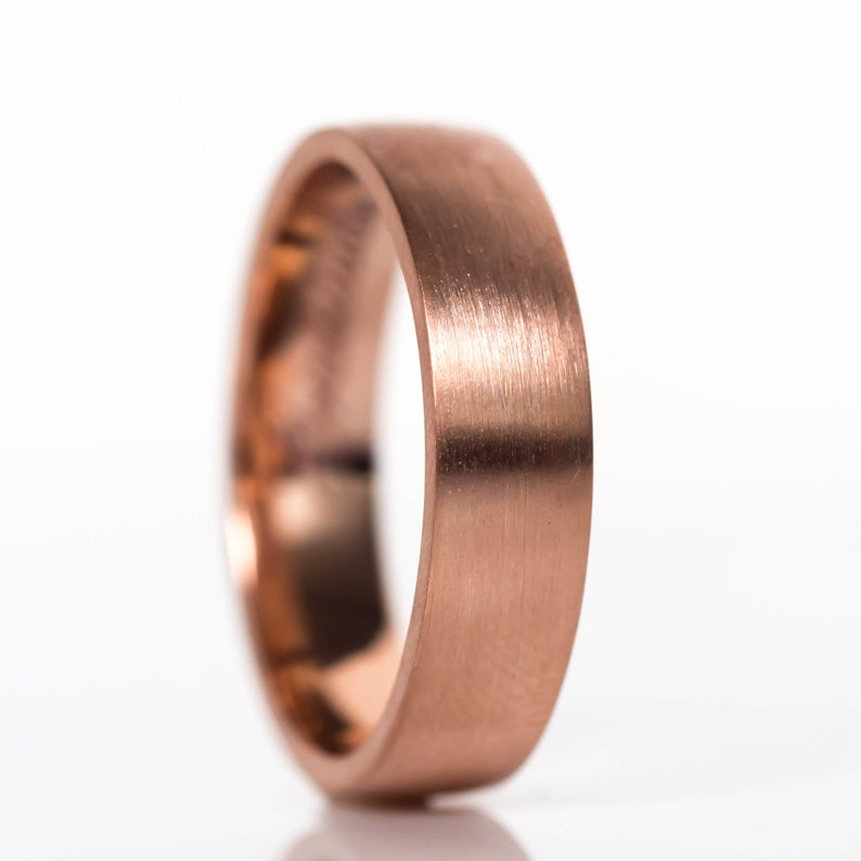 9a6a235e0aaf5 Men's Brushed Low Dome Comfort Fit Wedding Band in Rose Gold, 6mm Width