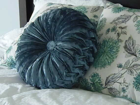Wondrous Vintage Inspired Hand Smocked Round Throw Pillow In Denim Blue Crushed Velvet Gamerscity Chair Design For Home Gamerscityorg