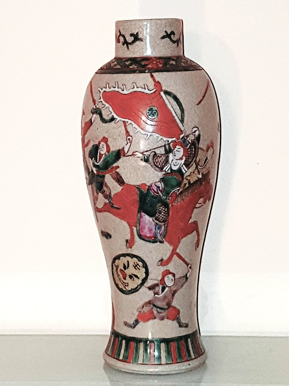 Old Chinese Porcelain Crackle Glaze Warrior Vase Etsy