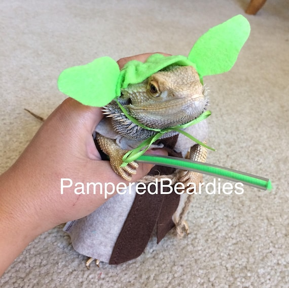 & Yoda Costume for Bearded Dragon with Plastic Lightsaber Now