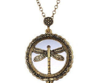 Vintage Dragonfly Magnifying Pendant - 5x magnification