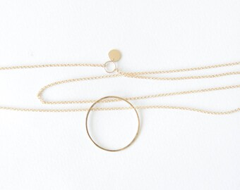 Full Moon Long Necklace // 14k gold filled hammered necklace