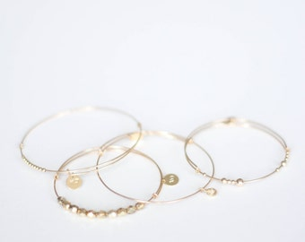 Stackable Gold Bangles // 14k gold-filled wire bangle with various beads