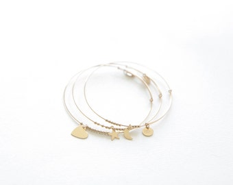 Dreamers Bangle Set // 14k gold-filled bracelets with charms
