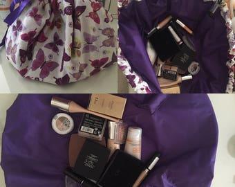 Make up tidy, toiletry bag, cosemtic bag, drawstring tidy, travel case, brush holder, make up holder, dressing table mat