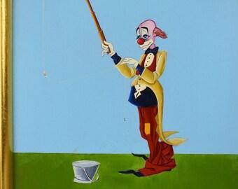 Maurizio Massi Clown Painting Oil on Board Fishing in Bucket Italian