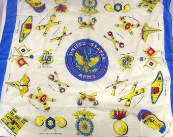 Vintage United States Army Hand Screened Silk Scarf Army Divisions Blue Border