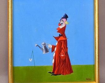 Maurizio Massi Clown Painting Oil on Board Watering Flower Italian