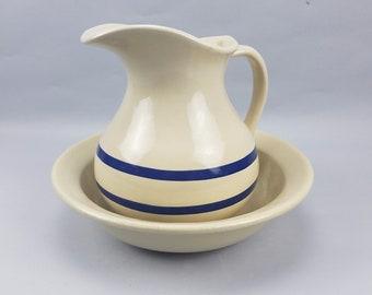 Roseville Robinson Ransbottom Pottery Williamsburg Pioneer Ewer Pitcher & Basin