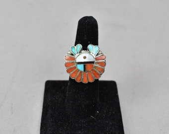 Vintage Native American Kachina Inlaid Turquoise Coral Sterling Silver Ring Zuni 7