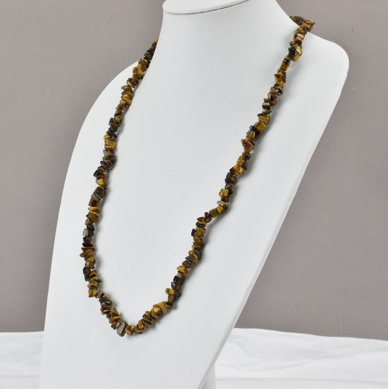 Tiger Eye Stone Necklace Brown 15 Drop Length
