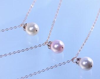 Rose gold bridesmaid necklace, Bridesmaid pearl necklace