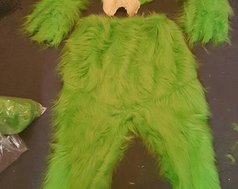 sale !!!Christmas costume.green fur costume and prosthetic BUT no gloves grinchy