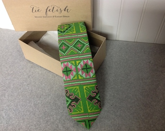 Hmong style green, pink and yellow  neck tie