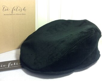 9f3686b9 Black striped velvet corduroy custom flat cap