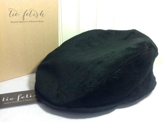 Black striped velvet corduroy custom flat cap  9a08136d060