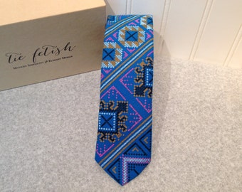 Hmong style blue, pink and black neck tie