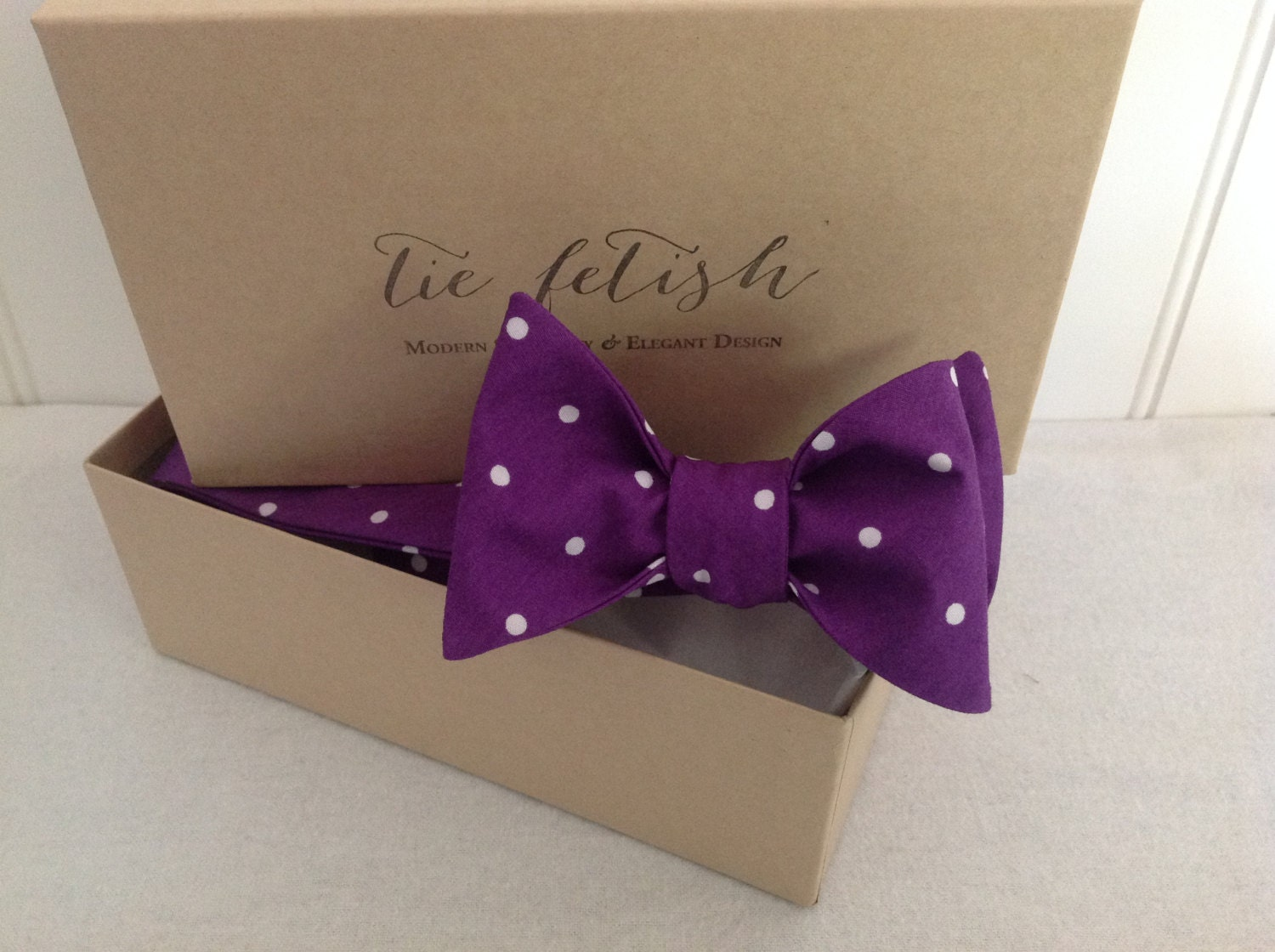 fb1a4c077a20 Purple and white dot bow tie, white plaid pocket square and purple ...