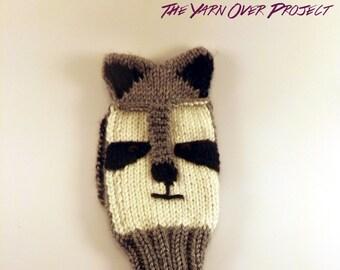 Hand-Knit Raccoon Golf Club Cover - Knit Golf Club Cover - Raccoon Golf Club Sleeve