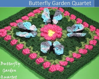 Butterfly Garden Quartet Granny Square Crochet Pattern
