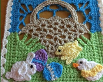 """Easter Basket 8"""" Afghan Square Crochet Pattern PDF"""