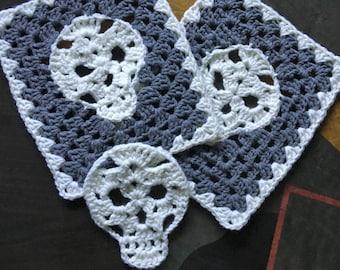 Crochet Skull Applique & Granny Rectangle Crochet Pattern PDF
