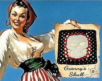 "Granny's Skull Afghan Square 10"" & Skull Applique Crochet Pattern PDF Instant Download"