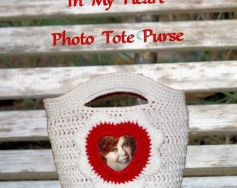 In My Heart - Reversible Photo Tote Purse Crochet Pattern PDF