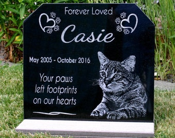pet memorial stone personalized garden stone with optional base stand your pets photo heavy composite stand indooroutdoor your pets photo - Personalized Garden Stones