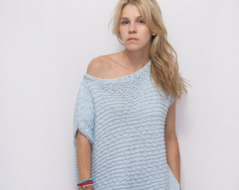 Bohemian Off Shoulder Knitted Top Sweater - Backless Summer Top - Open Back Cotton Top - Boho Top - Women's Loose Fit Sweater Top - ROY