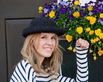 Women's Straw Hat- Beach Hat - Summer Hat - Sun Hat - Black Straw Hat - Crochet Straw Hat  - Raffia Hat
