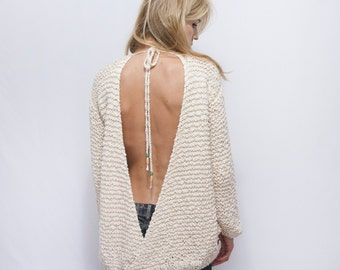 Open Back Knitted Sweater - Backless Sweater - Cotton Off the Shoulder Sweater -  Boho Sweater - Woman Indie Sweater - ROY