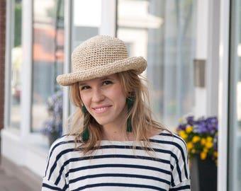 Women's Straw Hat - Beach Hat - Summer Hat - Sun Hat - Natural Color Straw Hat - Crochet Straw Hat  - Raffia Hat