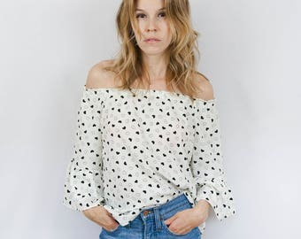 Women's Off Shoulder Belle Sleeve Blouse - Off the Shoulder Top - Hearts Top - Ruffle Top - Black Hearts Blouse