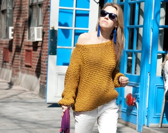 Knit Backless Sweater - Cotton Off the Shoulder Sweater - Open Back Knitted Sweater - Boho Sweater - Woman Indie Sweater - ROY