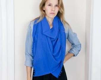 Blue Pom Pom Scarf - Summer Blanket Scarf  - Square Scarf  - Zara Style Scarf - Cotton Scarf - Pom Pom Wrap - Beach Cover Up - Pareo