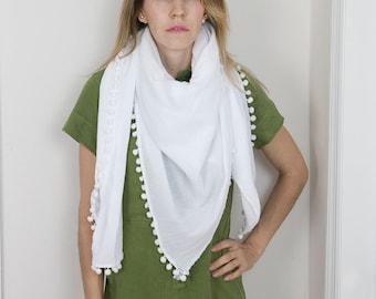 Medium Square Pom Pom Scarf - Blanket Cotton Scarf  - Zara Style Scarf - Summer  White Scarf - Cozy Pom Pom Wrap - Beach Cover Up - Pareo