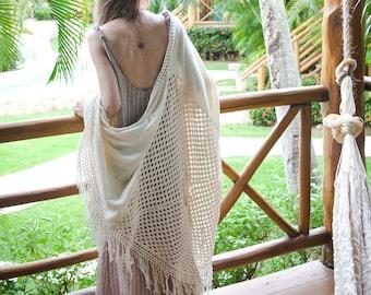 Boho Shawl - Crochet Shawl - Crochet Cover Up - Bohemian Shawl - Fringe Shawl - Swim Cover Up - Luxury Fringe Wrap - IVORY