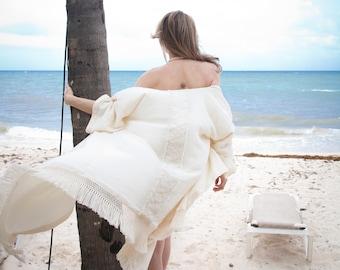Fringe Boho Cardigan - Large bohemian Cardigan - Boho Mantle - Loose Sleeve Cardigan - Ivory Kimono - Blanket Cardigan - Fringe Cape