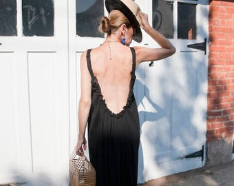 Black Open Back Dress - Long Bohemian Backless Dress - Long Beach Cover Up  - Bohemian Backless Beach Dress -  Swimsuit Cover Up