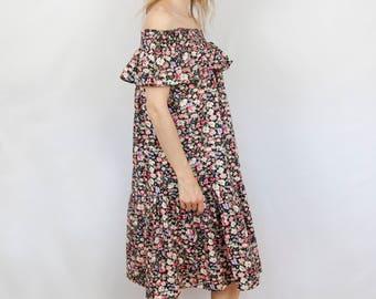 Ruffle Off the Shoulder Dress - Women's Boho Ruffle Dress - Dark Floral Ruffle Dress - Off Shoulder  Summer Dress - Women's Flower Dress