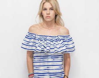 Boho Off the Shoulder Ruffle Top - Woman Boho Ruffle Top - Blue Stripe Boho Top - Off the Shoulder MATILDA Top - Striped Ruffle Top