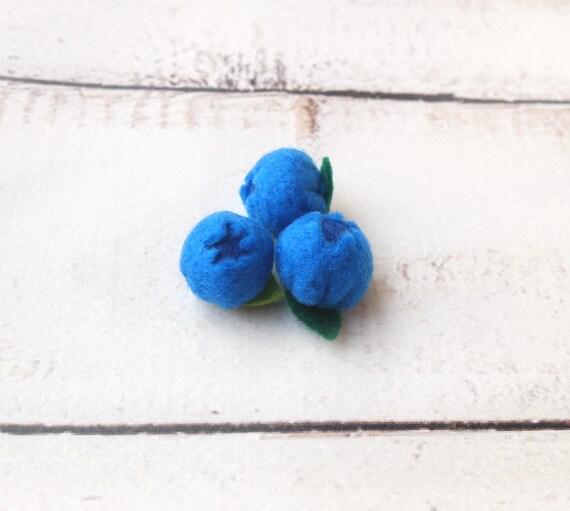 3 bleuets feutre feutre Fruits Farmers Market semblant de nourriture pour le jardinage amoureux cuisine Decor fruits bol éco-responsables PlayFood Montessori