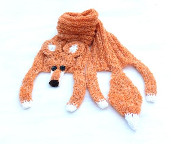 Tier Schal stricken roter Fuchs Schal für Baby handgemachte | Etsy