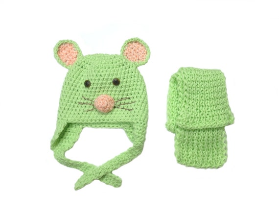 Soft Mouse Sweet Mouse Crochet Mouse Child Hat Beanie Hat Mouse Hat Ear Hat  Toddler Hat Animal Hat Green Pink Funny Hat Soft Kids Hat