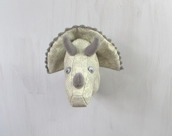 Grey dino Textile head trophy Faux taxidermy Fauxidermy Dinosaur Triceratops Wall decor Soft sculpture Kids room decor Vegan friendly OOAK