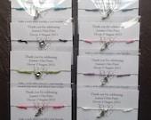 Personalised Hen party wish bracelets friendship bracelet stiletto charms bracelet or choose another charm,hen charm