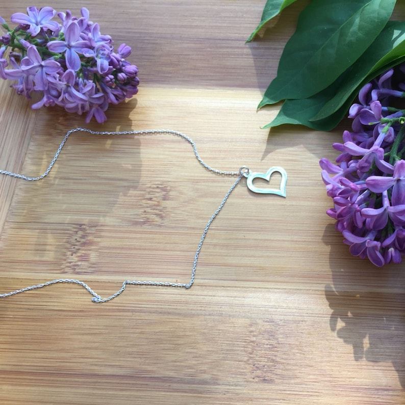 Dainty Heart Pendant Necklace Sterling Silver Bridesmaids Gift Necklace Rose Gold Plated Love Pendant Yellow Gold Plated Choker