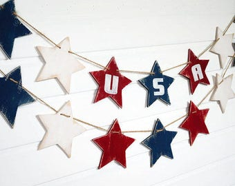 Patriotic garland USA banner Wood star garland 4th of July decor USA sign Patriotic decor American flag
